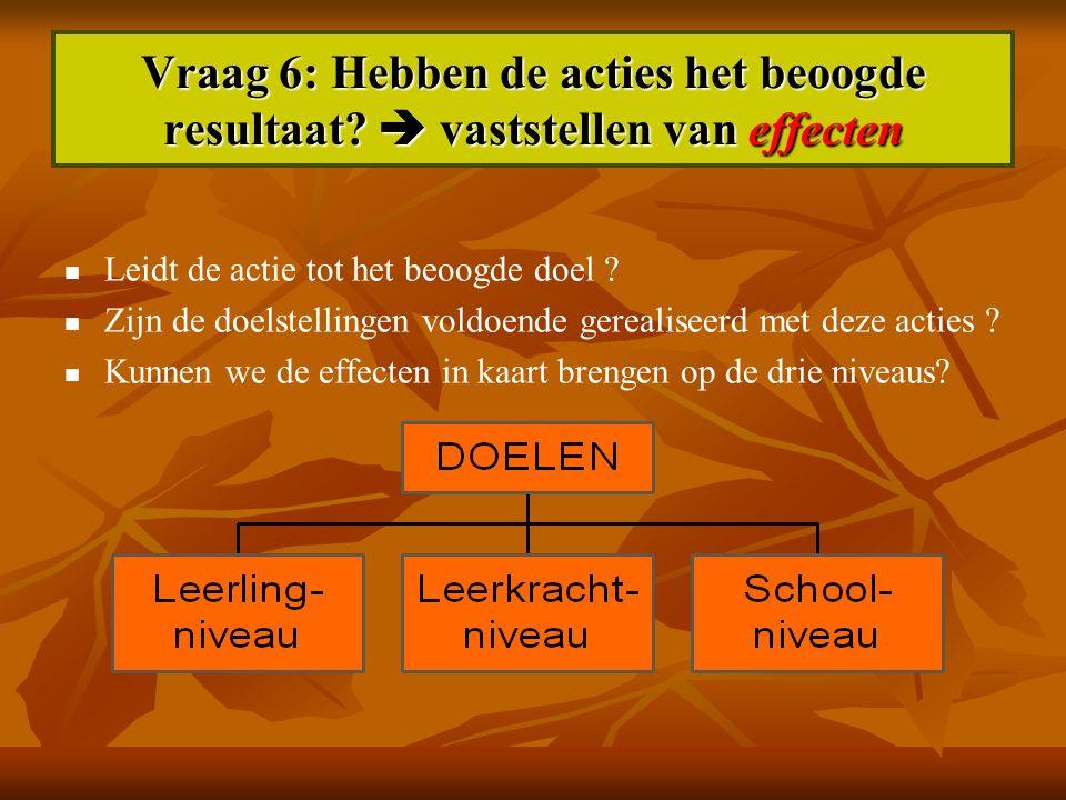 Vraag 6: Hebben de acties het beoogde resultaat?  vaststellen van effecten Leidt de actie tot het beoogde doel ? Zijn de doelstellingen voldoende ger