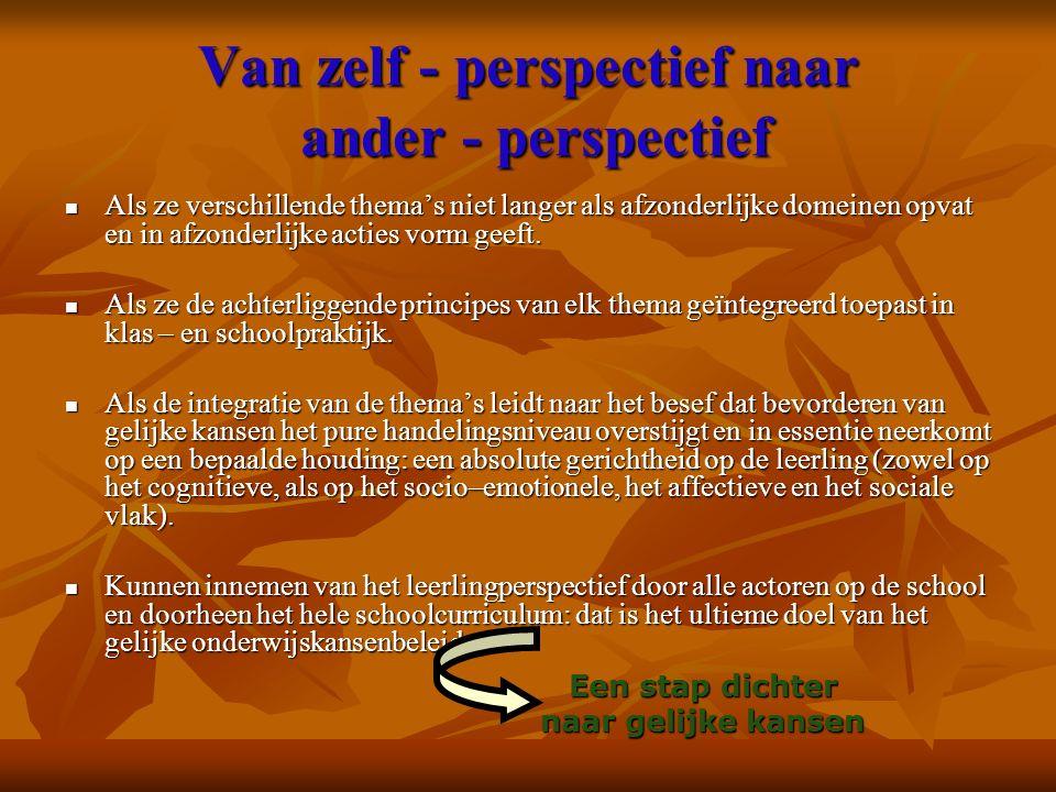 Van zelf - perspectief naar ander - perspectief Als ze verschillende thema's niet langer als afzonderlijke domeinen opvat en in afzonderlijke acties v