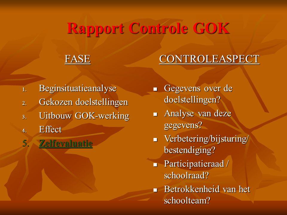 Rapport Controle GOK FASECONTROLEASPECT 1. Beginsituatieanalyse 2. Gekozen doelstellingen 3. Uitbouw GOK-werking 4. Effect 5. Zelfevaluatie Gegevens o