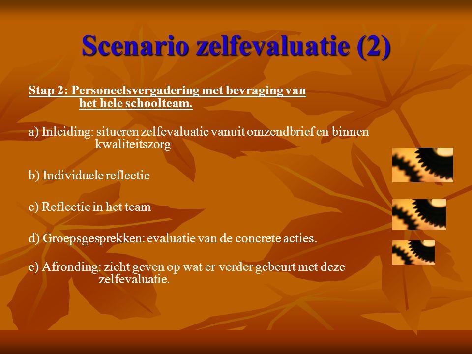 Scenario zelfevaluatie (2) Stap 2: Personeelsvergadering met bevraging van het hele schoolteam. a) Inleiding: situeren zelfevaluatie vanuit omzendbrie