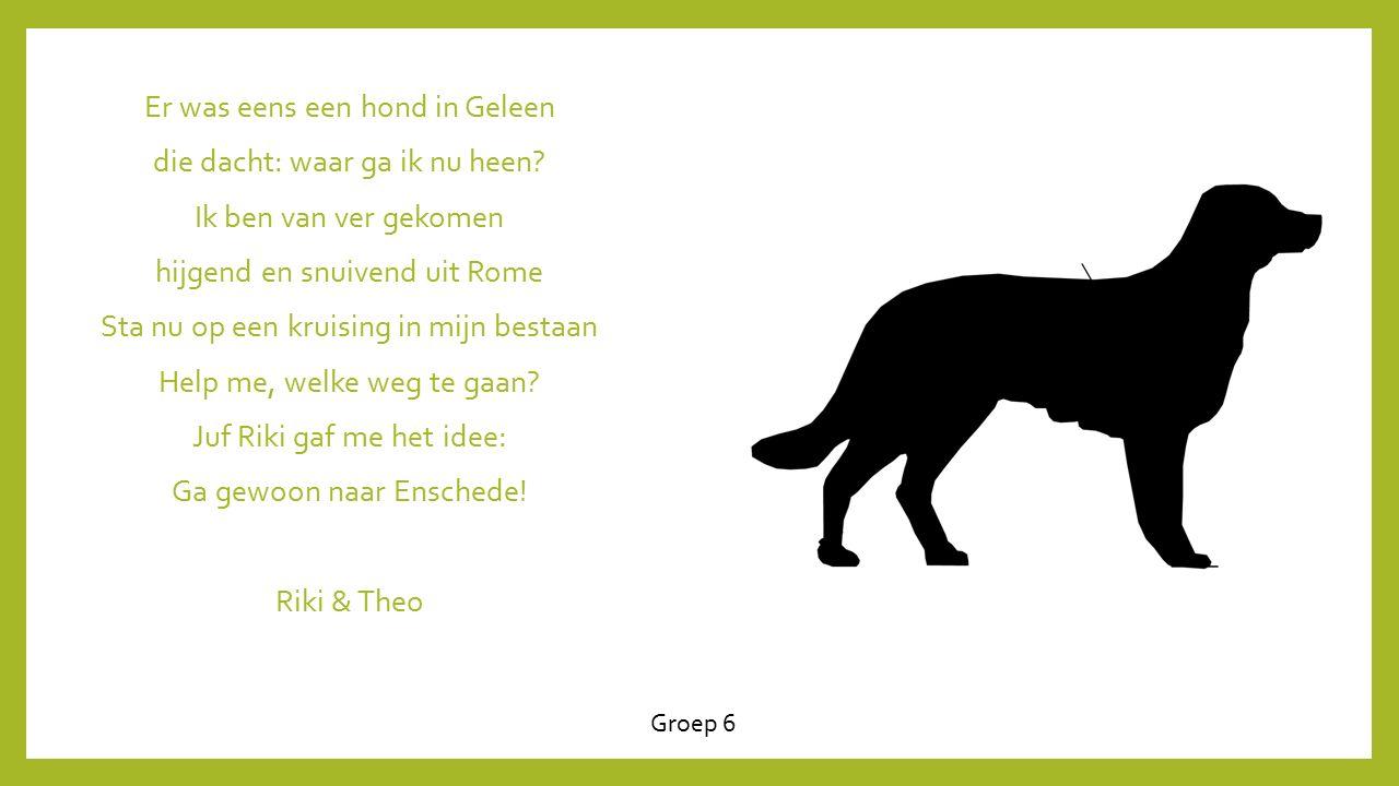 Er was eens een hond in Geleen die dacht: waar ga ik nu heen? Ik ben van ver gekomen hijgend en snuivend uit Rome Sta nu op een kruising in mijn besta