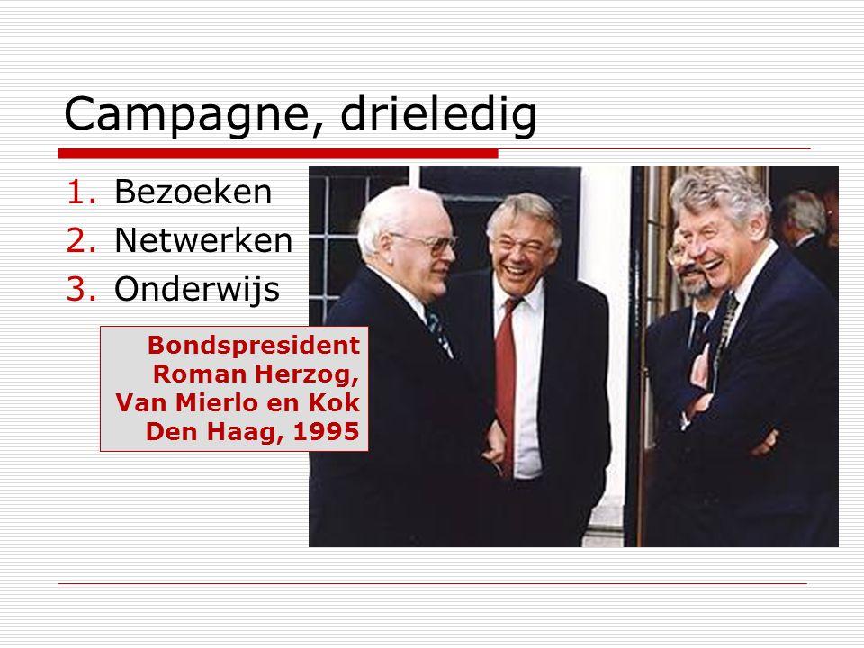 Campagne, drieledig 1.Bezoeken 2.Netwerken 3.Onderwijs Bondspresident Roman Herzog, Van Mierlo en Kok Den Haag, 1995