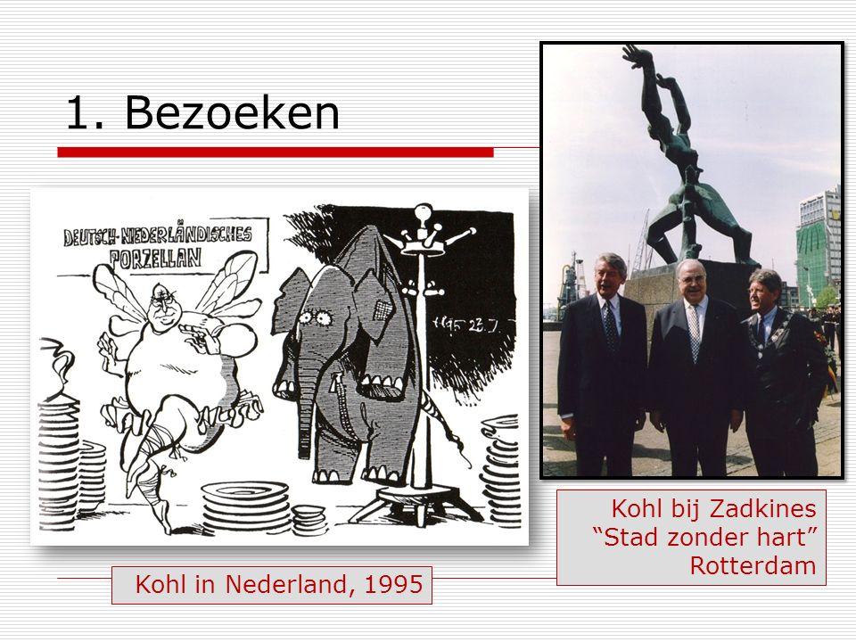 """1. Bezoeken Kohl bij Zadkines """"Stad zonder hart"""" Rotterdam Kohl in Nederland, 1995"""