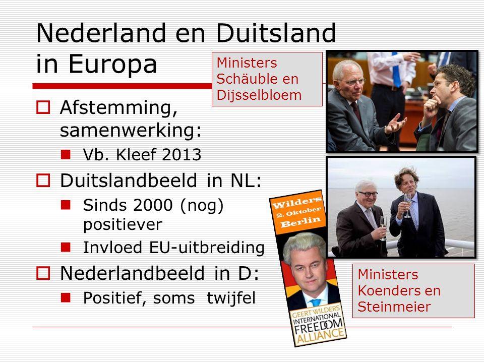 Nederland en Duitsland in Europa  Afstemming, samenwerking: Vb. Kleef 2013  Duitslandbeeld in NL: Sinds 2000 (nog) positiever Invloed EU-uitbreiding