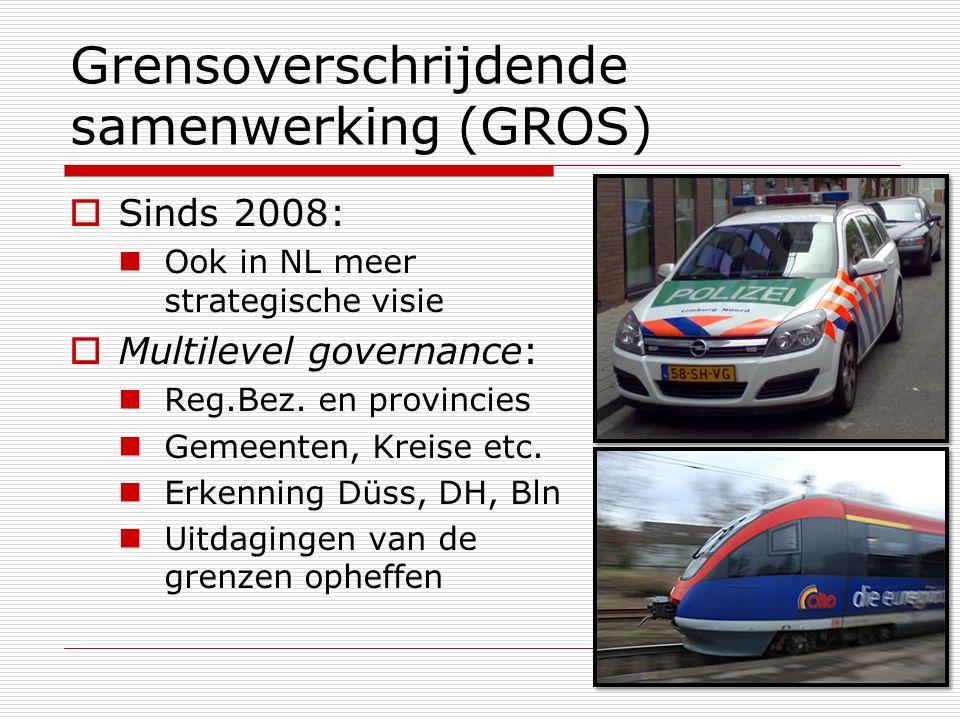 Grensoverschrijdende samenwerking (GROS)  Sinds 2008: Ook in NL meer strategische visie  Multilevel governance: Reg.Bez. en provincies Gemeenten, Kr