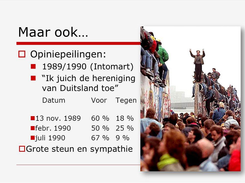 """Maar ook…  Opiniepeilingen: 1989/1990 (Intomart) """"Ik juich de hereniging van Duitsland toe"""" DatumVoorTegen 13 nov. 198960 %18 % febr. 199050 %25 % ju"""