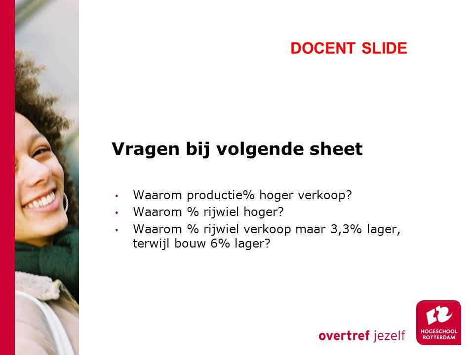 Vragen bij volgende sheet Waarom productie% hoger verkoop? Waarom % rijwiel hoger? Waarom % rijwiel verkoop maar 3,3% lager, terwijl bouw 6% lager? DO
