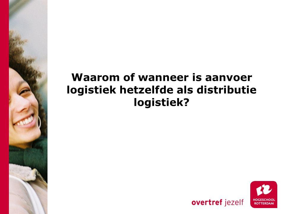 Waarom of wanneer is aanvoer logistiek hetzelfde als distributie logistiek?