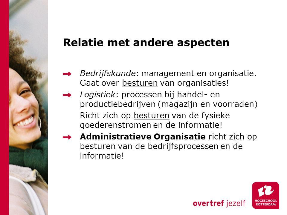 Relatie met andere aspecten Bedrijfskunde: management en organisatie. Gaat over besturen van organisaties! Logistiek: processen bij handel- en product