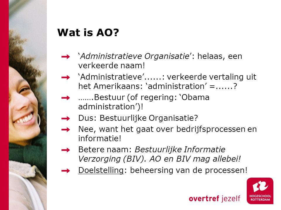 Wat is AO? 'Administratieve Organisatie': helaas, een verkeerde naam! 'Administratieve'......: verkeerde vertaling uit het Amerikaans: 'administration
