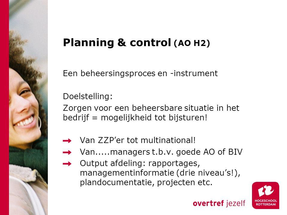 Planning & control (AO H2) Een beheersingsproces en -instrument Doelstelling: Zorgen voor een beheersbare situatie in het bedrijf = mogelijkheid tot b
