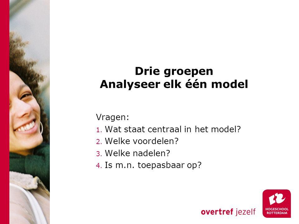Drie groepen Analyseer elk één model Vragen: 1. Wat staat centraal in het model? 2. Welke voordelen? 3. Welke nadelen? 4. Is m.n. toepasbaar op?