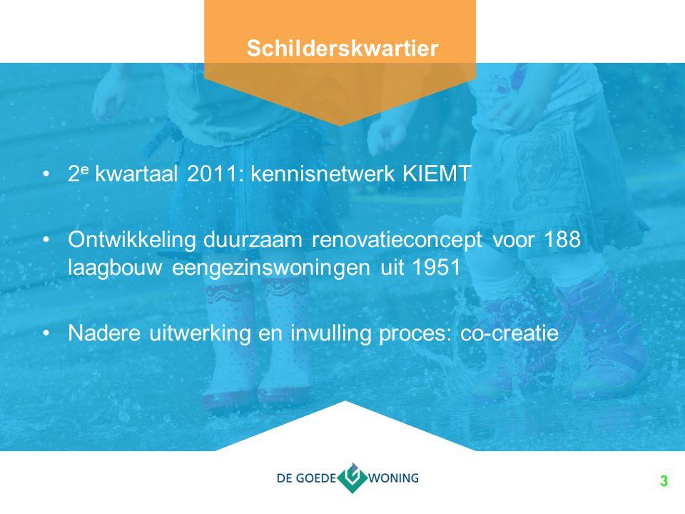 3 2 e kwartaal 2011: kennisnetwerk KIEMT Ontwikkeling duurzaam renovatieconcept voor 188 laagbouw eengezinswoningen uit 1951 Nadere uitwerking en invulling proces: co-creatie Schilderskwartier