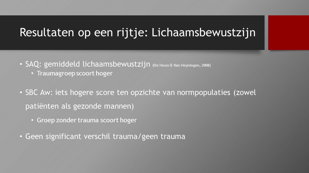 Resultaten op een rijtje: Lichaamsbewustzijn SAQ: gemiddeld lichaamsbewustzijn (De Hoon & Van Heyningen, 2008) Traumagroep scoort hoger SBC Aw: iets h