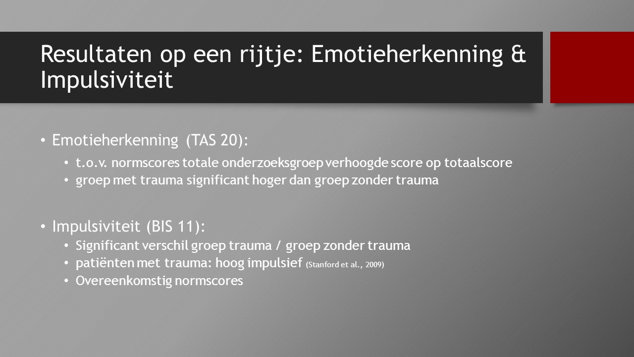 Resultaten op een rijtje: Emotieherkenning & Impulsiviteit Emotieherkenning (TAS 20): t.o.v. normscores totale onderzoeksgroep verhoogde score op tota