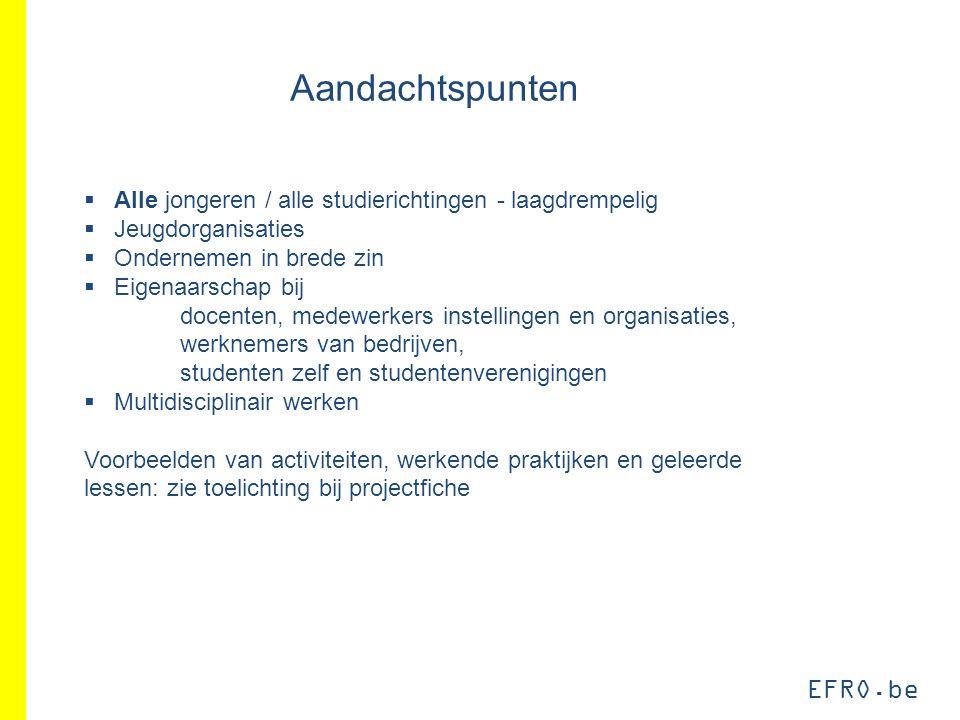 EFRO.be Aandachtspunten  Alle jongeren / alle studierichtingen - laagdrempelig  Jeugdorganisaties  Ondernemen in brede zin  Eigenaarschap bij doce