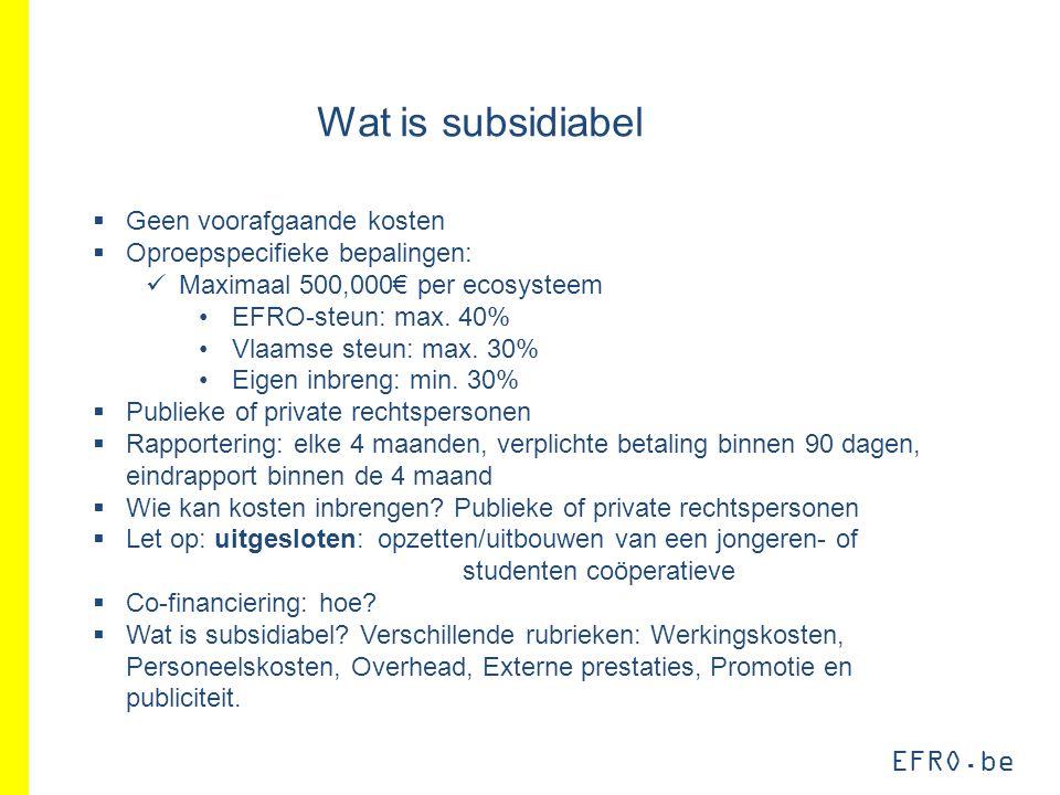EFRO.be Wat is subsidiabel  Geen voorafgaande kosten  Oproepspecifieke bepalingen: Maximaal 500,000€ per ecosysteem EFRO-steun: max. 40% Vlaamse ste