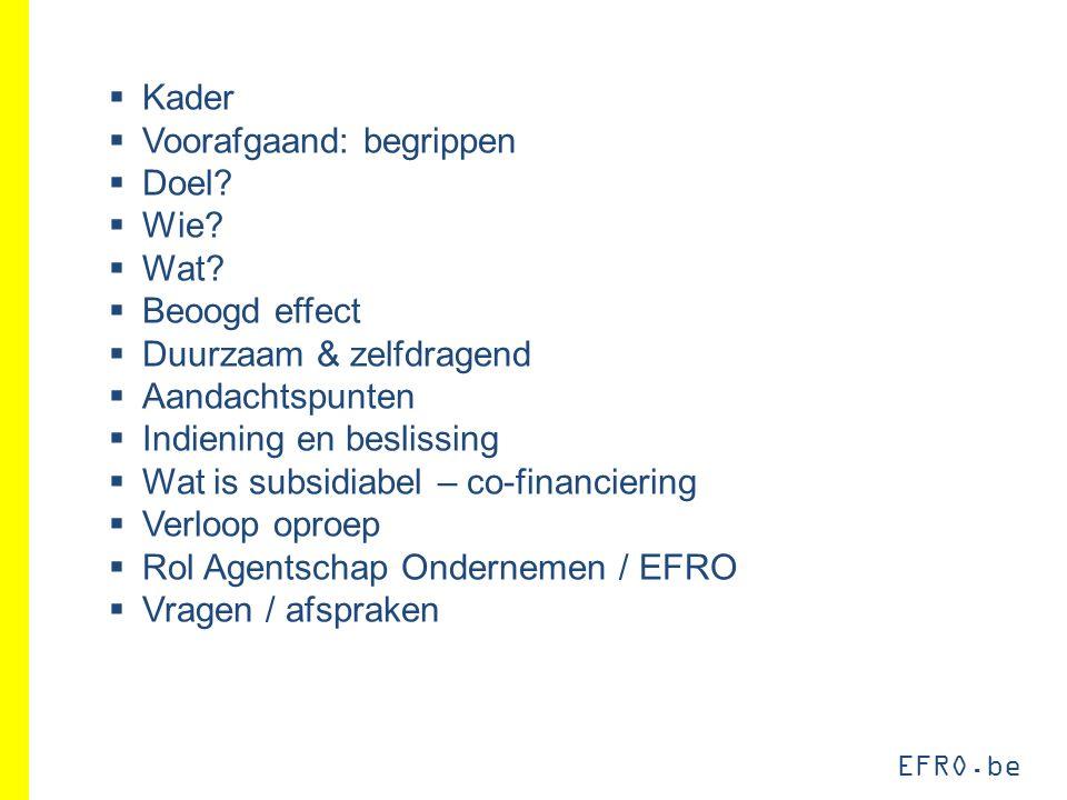 EFRO.be  Kader  Voorafgaand: begrippen  Doel?  Wie?  Wat?  Beoogd effect  Duurzaam & zelfdragend  Aandachtspunten  Indiening en beslissing 