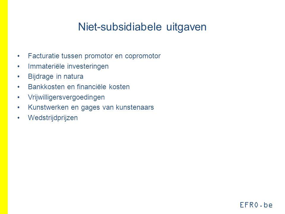 EFRO.be Niet-subsidiabele uitgaven Facturatie tussen promotor en copromotor Immateriële investeringen Bijdrage in natura Bankkosten en financiële kost