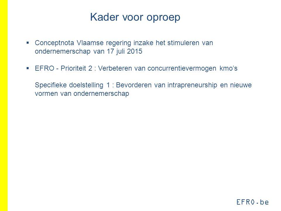 EFRO.be Kader voor oproep  Conceptnota Vlaamse regering inzake het stimuleren van ondernemerschap van 17 juli 2015  EFRO - Prioriteit 2 : Verbeteren van concurrentievermogen kmo's Specifieke doelstelling 1 : Bevorderen van intrapreneurship en nieuwe vormen van ondernemerschap