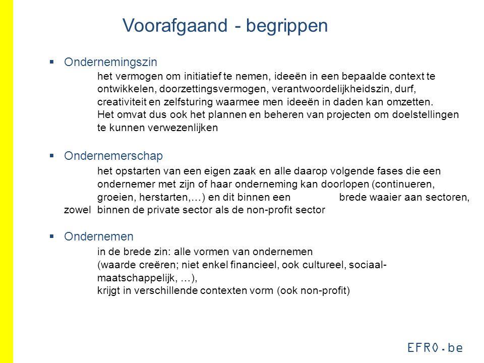 EFRO.be Voorafgaand - begrippen  Ondernemingszin het vermogen om initiatief te nemen, ideeën in een bepaalde context te ontwikkelen, doorzettingsverm