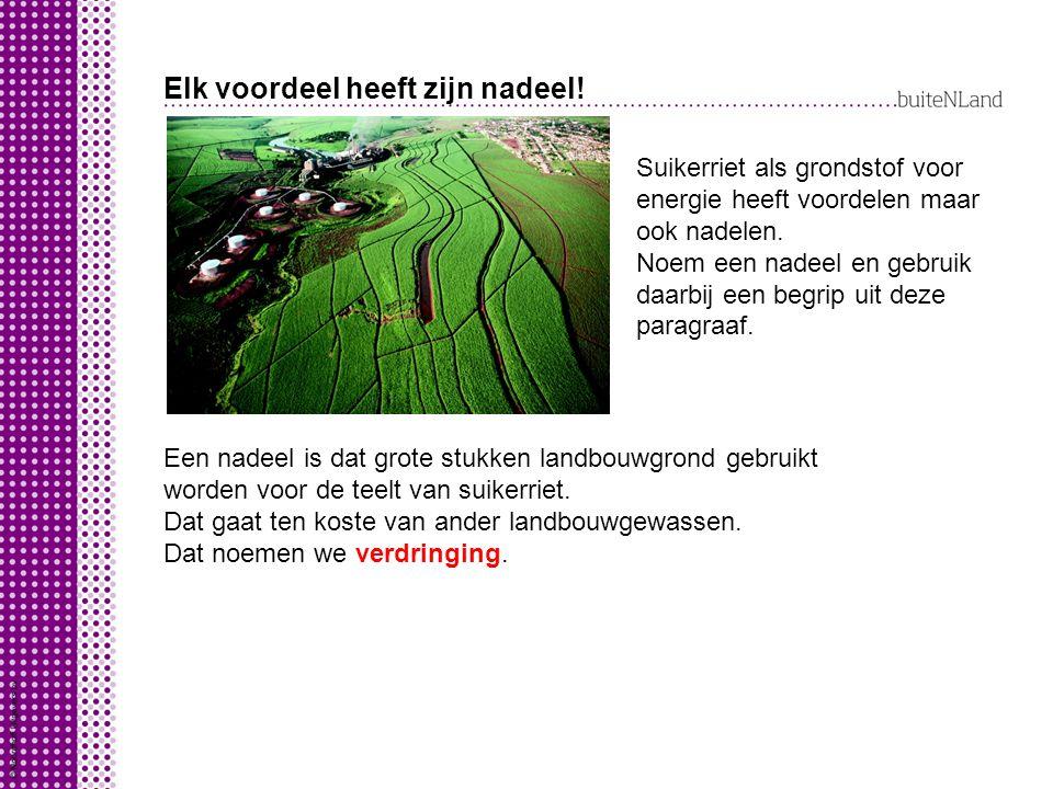 Elk voordeel heeft zijn nadeel! Suikerriet als grondstof voor energie heeft voordelen maar ook nadelen. Noem een nadeel en gebruik daarbij een begrip