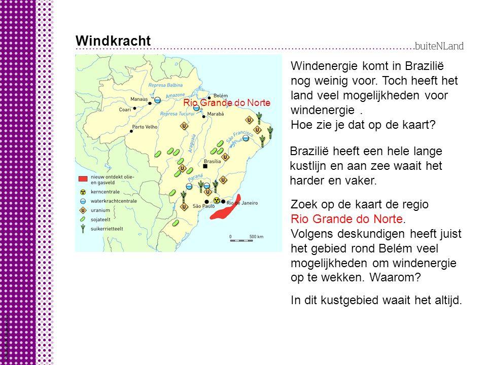 Windkracht Windenergie komt in Brazilië nog weinig voor. Toch heeft het land veel mogelijkheden voor windenergie. Hoe zie je dat op de kaart? Brazilië
