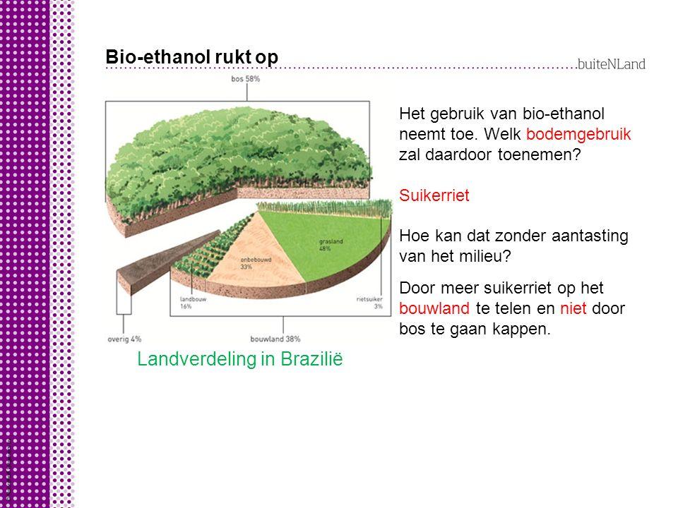 Bio-ethanol rukt op Landverdeling in Brazilië Het gebruik van bio-ethanol neemt toe. Welk bodemgebruik zal daardoor toenemen? Suikerriet Hoe kan dat z