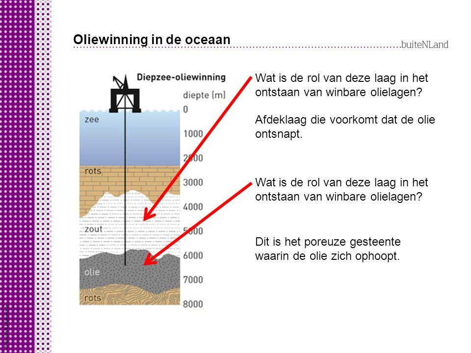 Oliewinning in de oceaan Wat is de rol van deze laag in het ontstaan van winbare olielagen? Afdeklaag die voorkomt dat de olie ontsnapt. Wat is de rol