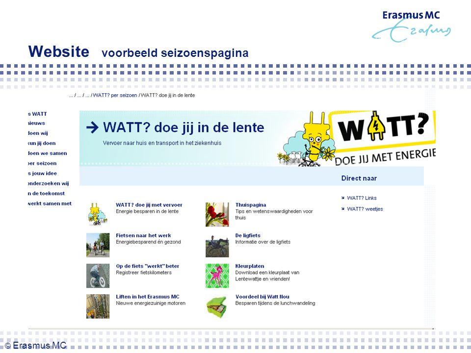 Website voorbeeld seizoenspagina © Erasmus MC
