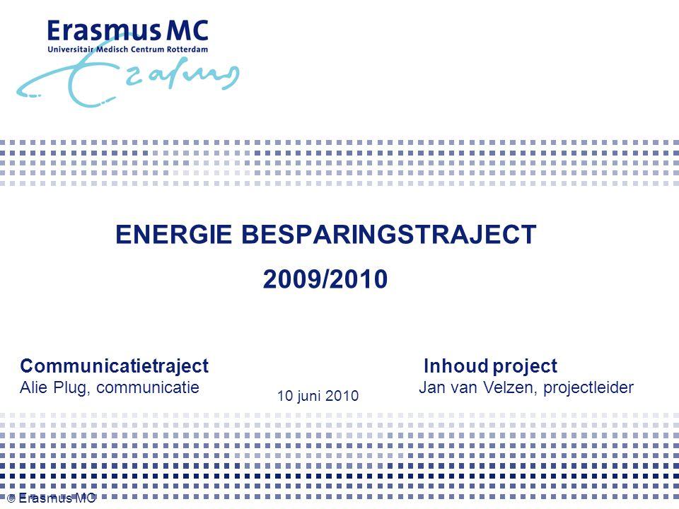 ENERGIE BESPARINGSTRAJECT 2009/2010 Communicatietraject Alie Plug, communicatie Inhoud project Jan van Velzen, projectleider 10 juni 2010 © Erasmus MC