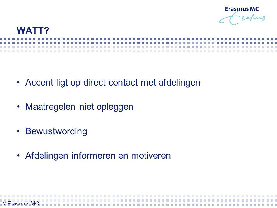 Accent ligt op direct contact met afdelingen Maatregelen niet opleggen Bewustwording Afdelingen informeren en motiveren WATT.