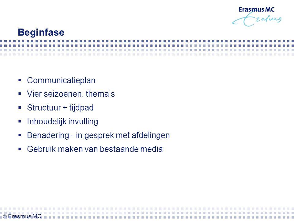 Beginfase  Communicatieplan  Vier seizoenen, thema's  Structuur + tijdpad  Inhoudelijk invulling  Benadering - in gesprek met afdelingen  Gebruik maken van bestaande media © Erasmus MC