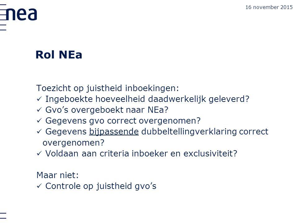 16 november 2015 Rol NEa Toezicht op juistheid inboekingen: Ingeboekte hoeveelheid daadwerkelijk geleverd.