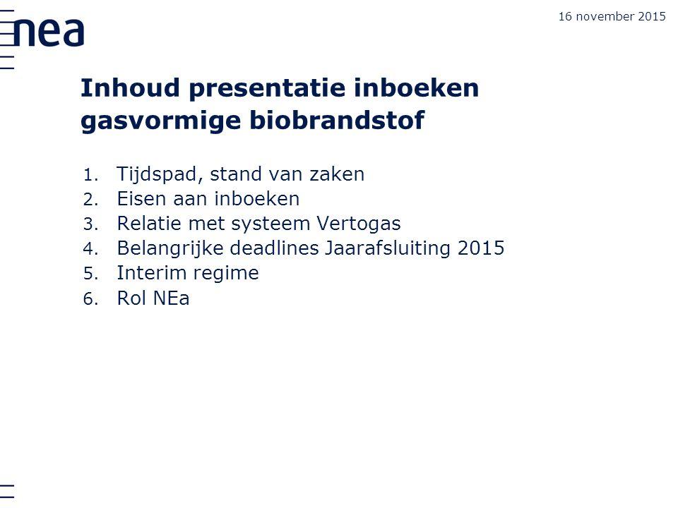 16 november 2015 Inhoud presentatie inboeken gasvormige biobrandstof 1.