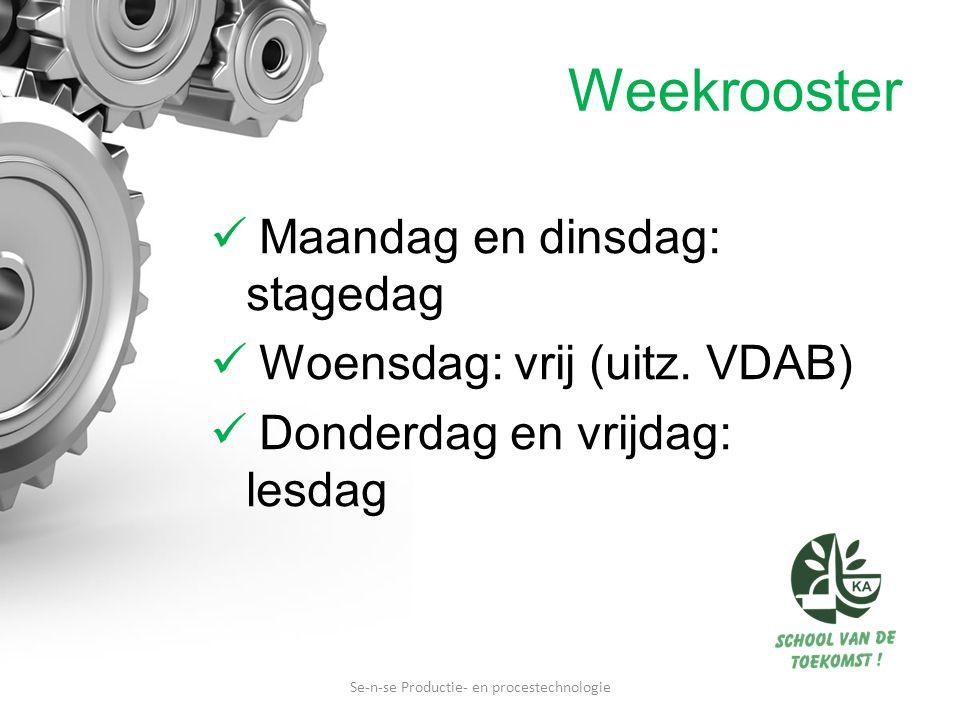 Weekrooster Maandag en dinsdag: stagedag Woensdag: vrij (uitz. VDAB) Donderdag en vrijdag: lesdag Se-n-se Productie- en procestechnologie