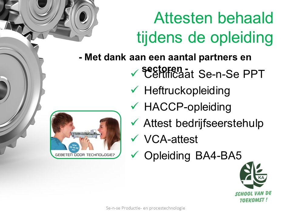 Attesten behaald tijdens de opleiding Certificaat Se-n-Se PPT Heftruckopleiding HACCP-opleiding Attest bedrijfseerstehulp VCA-attest Opleiding BA4-BA5