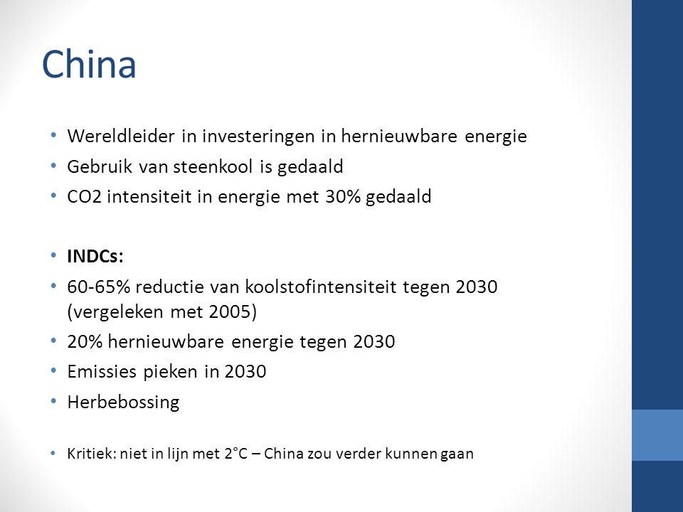 China Wereldleider in investeringen in hernieuwbare energie Gebruik van steenkool is gedaald CO2 intensiteit in energie met 30% gedaald INDCs: 60-65% reductie van koolstofintensiteit tegen 2030 (vergeleken met 2005) 20% hernieuwbare energie tegen 2030 Emissies pieken in 2030 Herbebossing Kritiek: niet in lijn met 2°C – China zou verder kunnen gaan