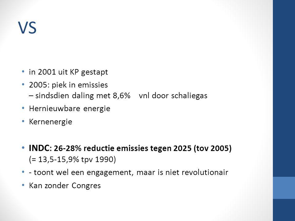 VS in 2001 uit KP gestapt 2005: piek in emissies – sindsdien daling met 8,6% vnl door schaliegas Hernieuwbare energie Kernenergie INDC : 26-28% reductie emissies tegen 2025 (tov 2005) (= 13,5-15,9% tpv 1990) - toont wel een engagement, maar is niet revolutionair Kan zonder Congres