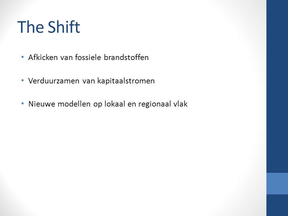 The Shift Afkicken van fossiele brandstoffen Verduurzamen van kapitaalstromen Nieuwe modellen op lokaal en regionaal vlak