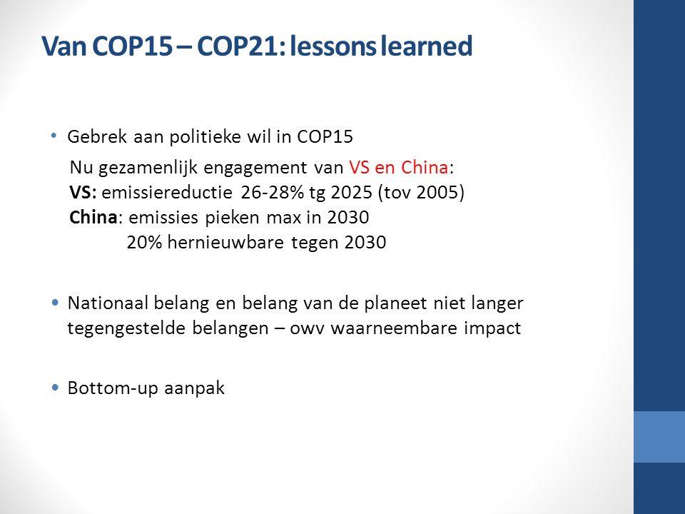 Van COP15 – COP21: lessons learned Gebrek aan politieke wil in COP15 Nu gezamenlijk engagement van VS en China: VS: emissiereductie 26-28% tg 2025 (tov 2005) China: emissies pieken max in 2030 20% hernieuwbare tegen 2030 Nationaal belang en belang van de planeet niet langer tegengestelde belangen – owv waarneembare impact Bottom-up aanpak