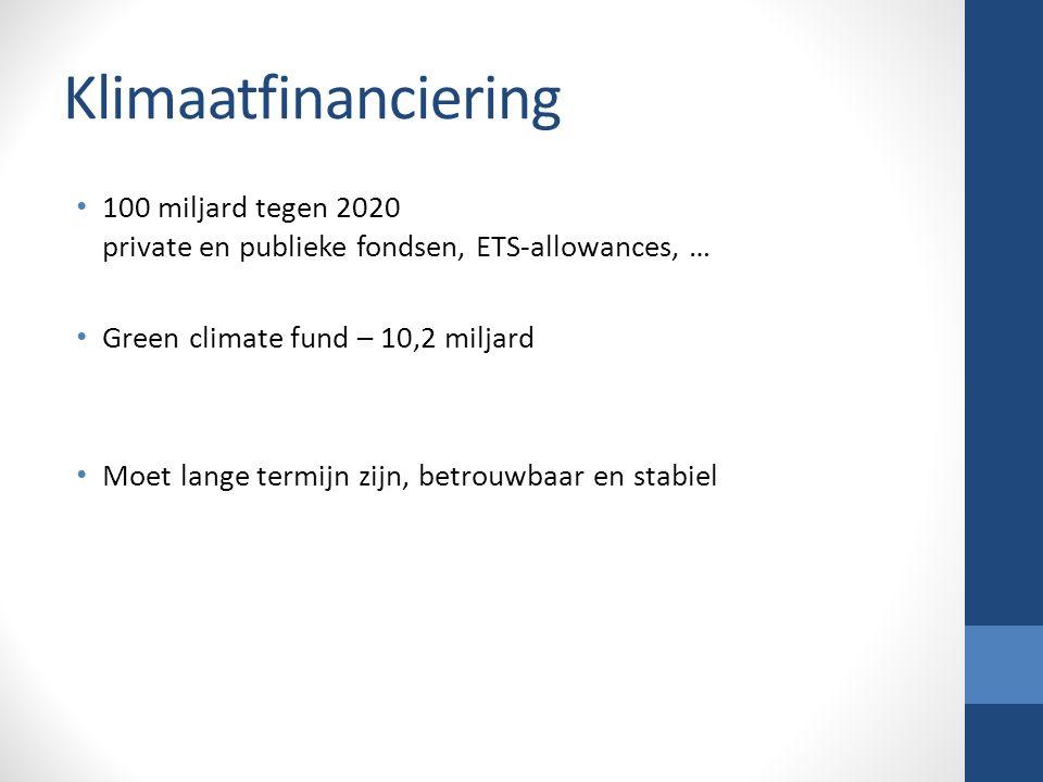Klimaatfinanciering 100 miljard tegen 2020 private en publieke fondsen, ETS-allowances, … Green climate fund – 10,2 miljard Moet lange termijn zijn, betrouwbaar en stabiel