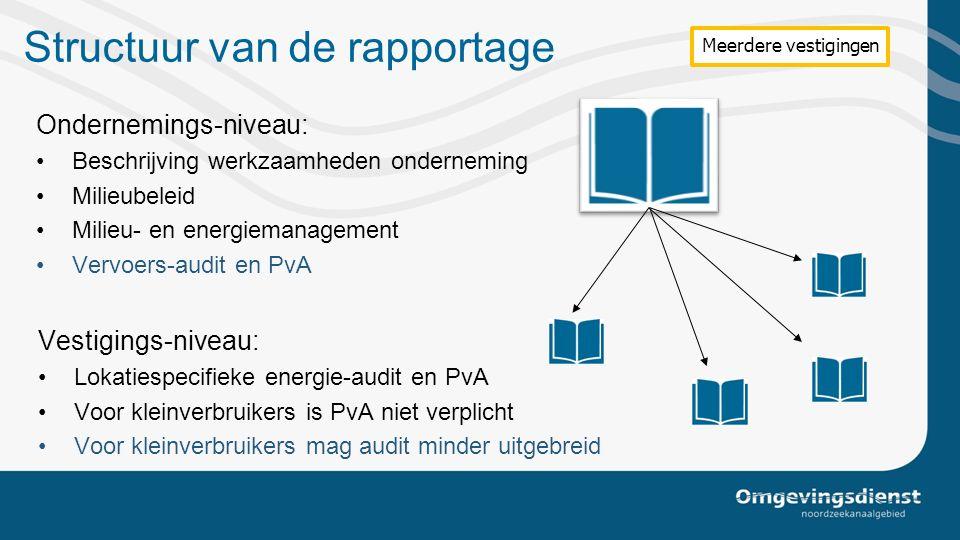 Structuur van de rapportage Ondernemings-niveau: Beschrijving werkzaamheden onderneming Milieubeleid Milieu- en energiemanagement Vervoers-audit en Pv