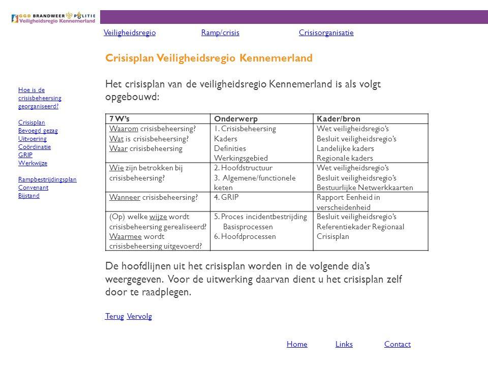 Crisisplan Veiligheidsregio Kennemerland Het crisisplan van de veiligheidsregio Kennemerland is als volgt opgebouwd: De hoofdlijnen uit het crisisplan