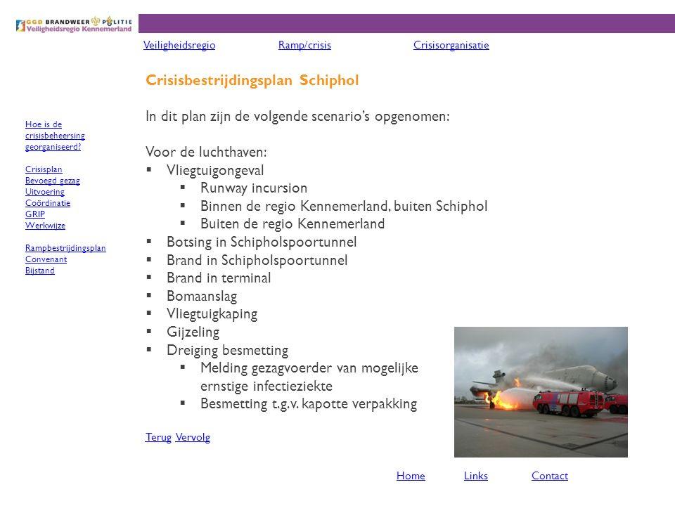 Crisisbestrijdingsplan Schiphol In dit plan zijn de volgende scenario's opgenomen: Voor de luchthaven:  Vliegtuigongeval  Runway incursion  Binnen