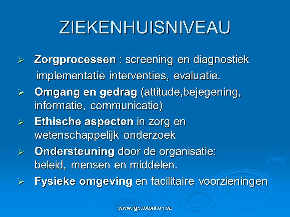 www.rgp.totont.on.ca ZIEKENHUISNIVEAU  Zorgprocessen : screening en diagnostiek implementatie interventies, evaluatie. implementatie interventies, ev