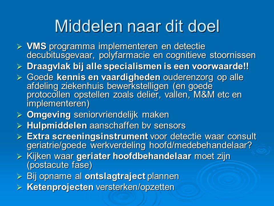 Middelen naar dit doel  VMS programma implementeren en detectie decubitusgevaar, polyfarmacie en cognitieve stoornissen  Draagvlak bij alle speciali