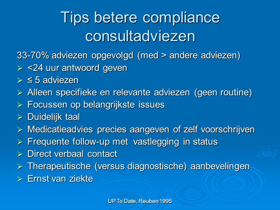 UP To Date, Reuben 1995 Tips betere compliance consultadviezen 33-70% adviezen opgevolgd (med > andere adviezen)  <24 uur antwoord geven  ≤ 5 adviez