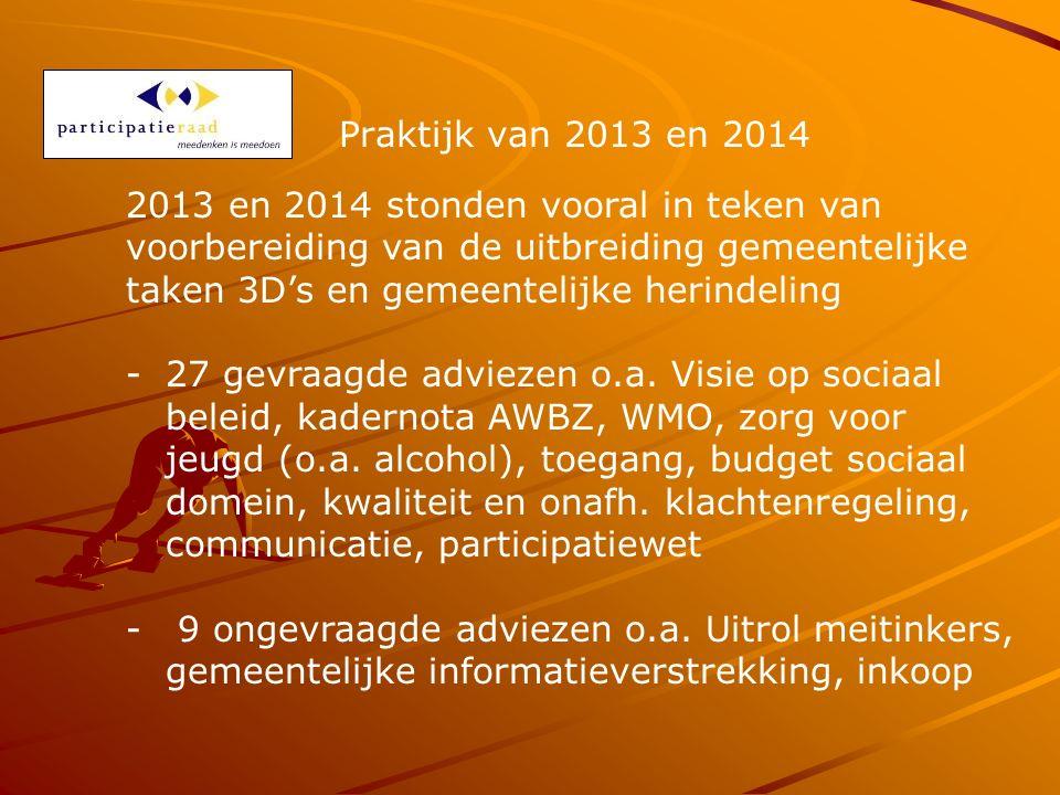 Praktijk van 2013 en 2014 2013 en 2014 stonden vooral in teken van voorbereiding van de uitbreiding gemeentelijke taken 3D's en gemeentelijke herindeling -27 gevraagde adviezen o.a.