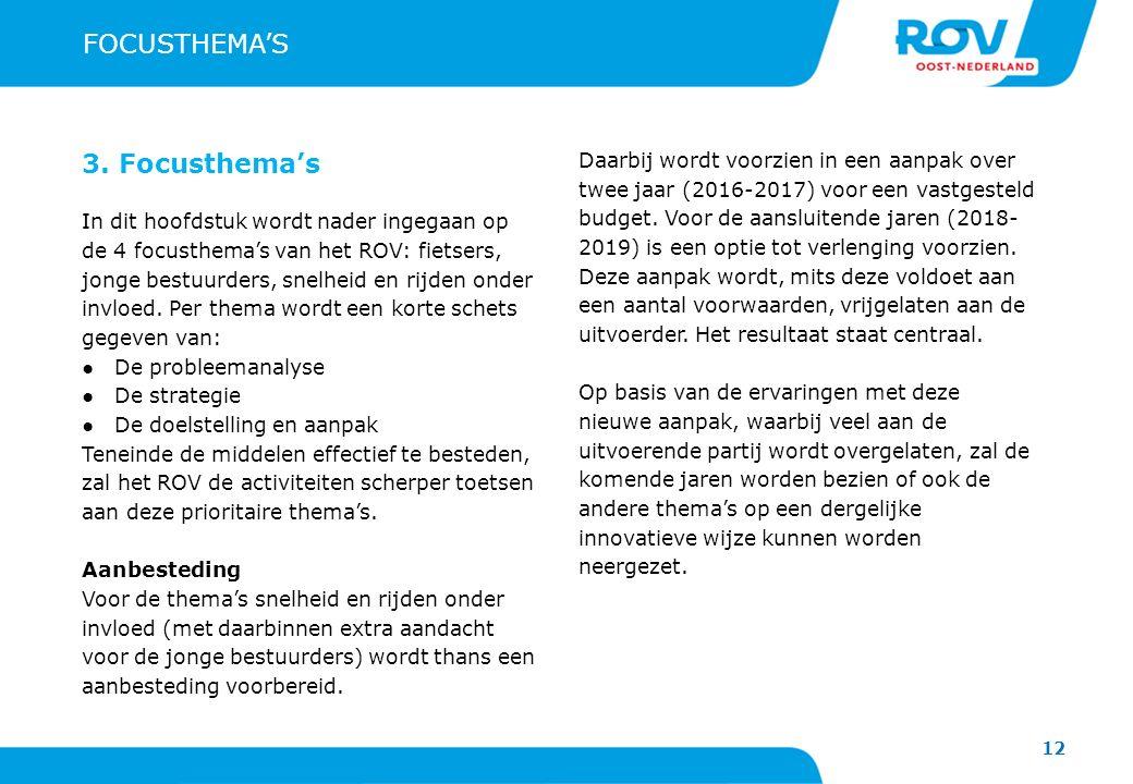 12 FOCUSTHEMA'S 3. Focusthema's In dit hoofdstuk wordt nader ingegaan op de 4 focusthema's van het ROV: fietsers, jonge bestuurders, snelheid en rijde